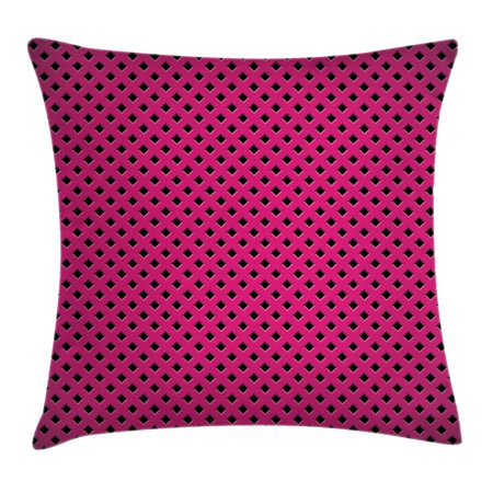 Magenta Decor Throw Pillow Cushion Cover, Diamond Line Grill Cross Wire Design Logo Digital New Fashion Motif Image, Decorative Square Accent Pillow Case, 18 X 18 Inches, Black Fuchsia, by Ambesonne ()