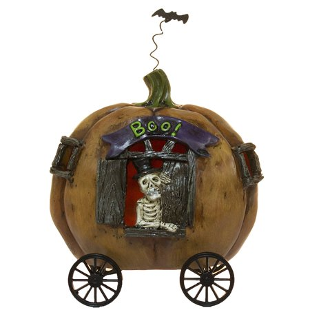Halloween Decor- 5 Inch Tall Light Up Skeleton In Pumpkin Carriage Figurine, Measures about 5.5 Inches from top of pumpkin to bottom of wheel By Ganz](Skeleton Pumpkin)