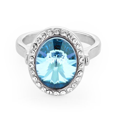 Birthstone Ring Pendants (X & O Rhodium Plated Pendant Ring With Large Oval Faceted Aquamarine Swarovski Crystal surrounded with white SW crystals - SIZE 07)