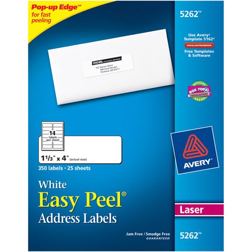 "Avery Easy Peel White Address Labels for Laser Printers, 1-1/3"" x 4"", Pack of 350"