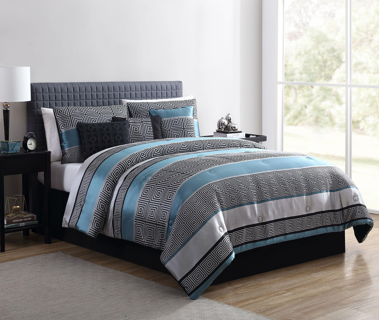 Mainstays Preston Woven Jacquard 7 Piece Comforter Set With Bonus Pillows And Shams King Teal Brickseek