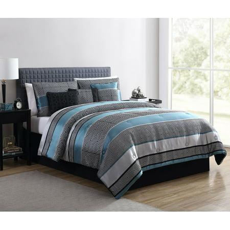 Mainstays King Woven Jacquard Teal Comforter Set, 7 Piece