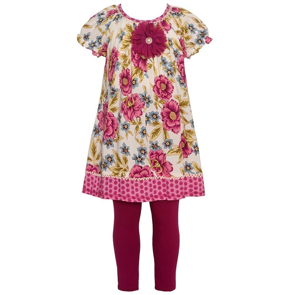 Bonnie Jean Little Girls Burgundy Flower Adorned 2 Pc Leg...