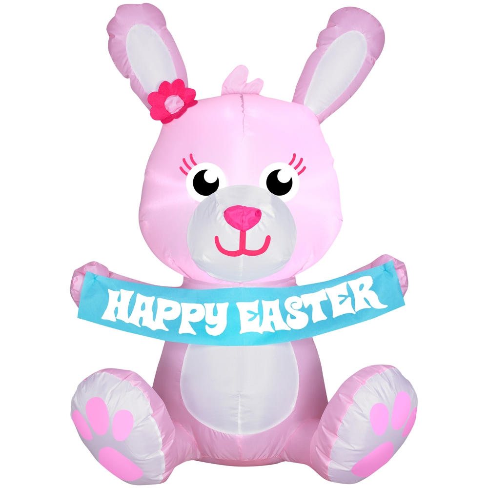 3.5' Pink Easter Bunny Spring Inflatable
