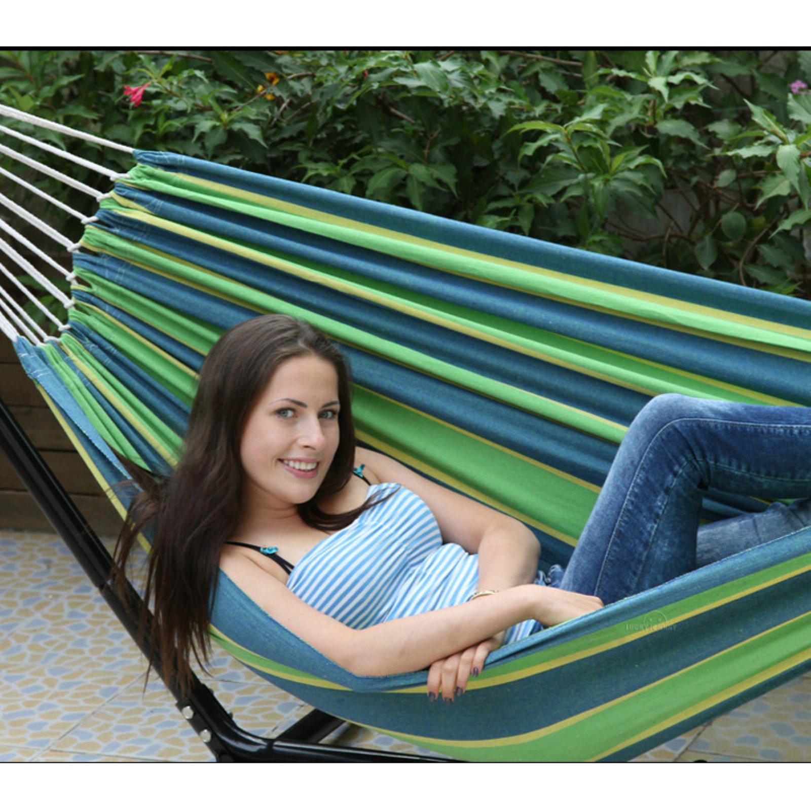 Brazilian Hammock in a Bag (Green Teal Stripe) by Smart Living Home & Gardern