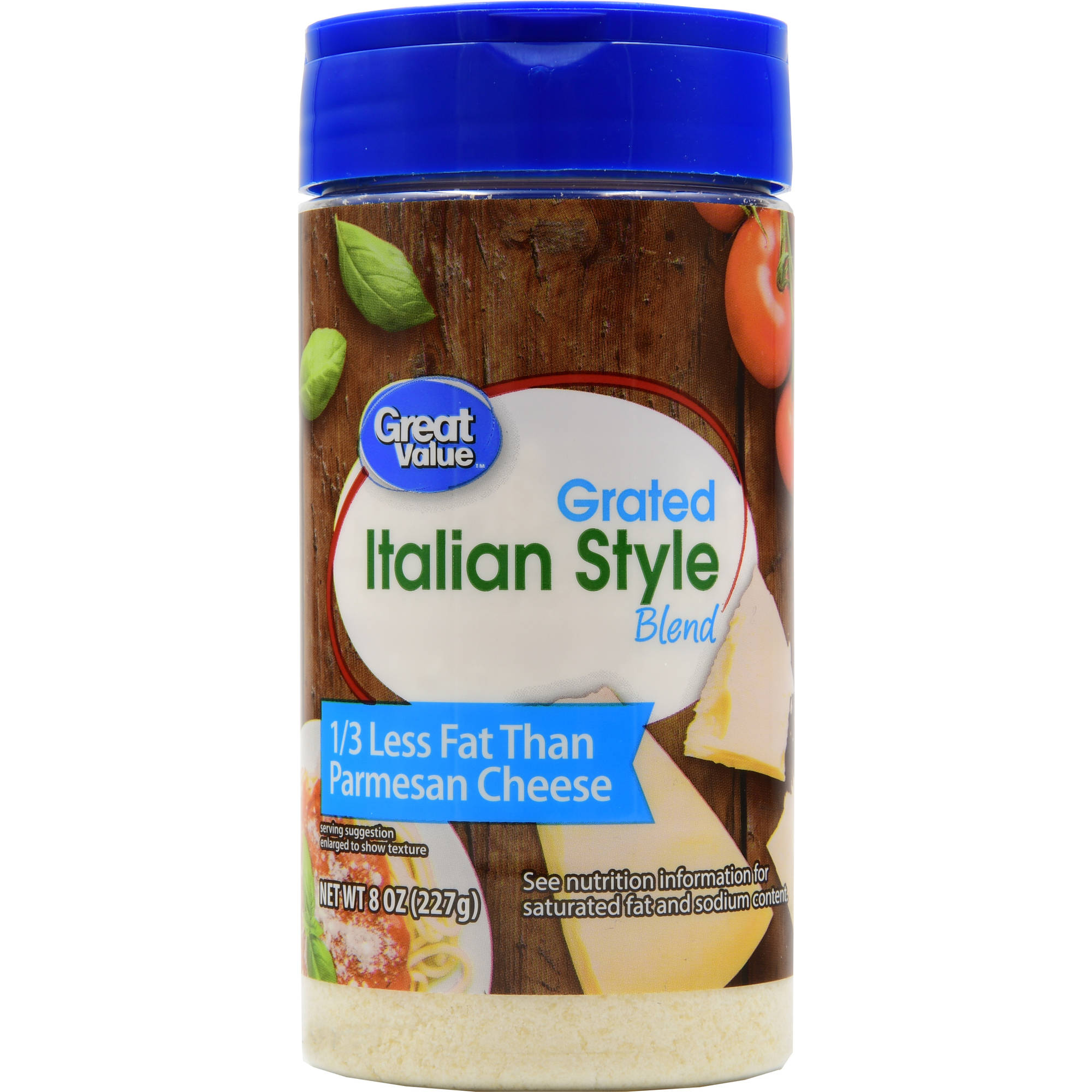 Great Value Reduced Fat Parmesan Grated Cheese, 8 oz