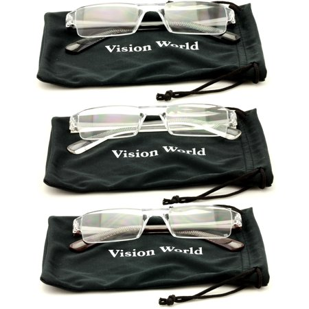 V.W.E.® 3 Pairs Rectangular Super Lightweight - Comfortable Readers Rx - M Reader