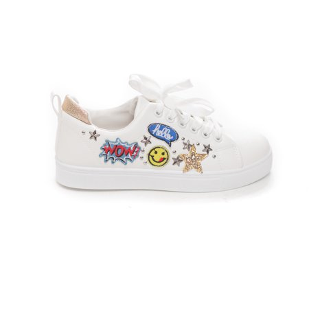 New Soho Shoes Women's Casual Lace Up Embroidery Emoji Action