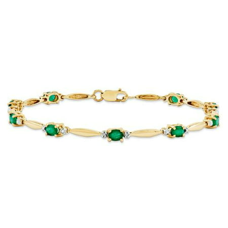 14k Yellow Gold Diamond and Emerald Oval Bracelet. Gem Wt- 1.53ct