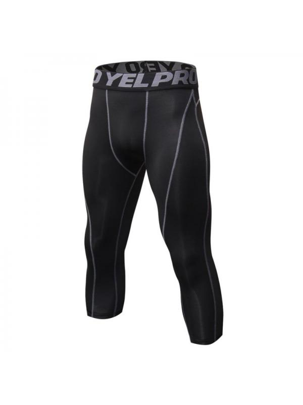 Ropalia Men Cropped Compression 3/4 Pants Sports Base Layer Tight Running Trousers