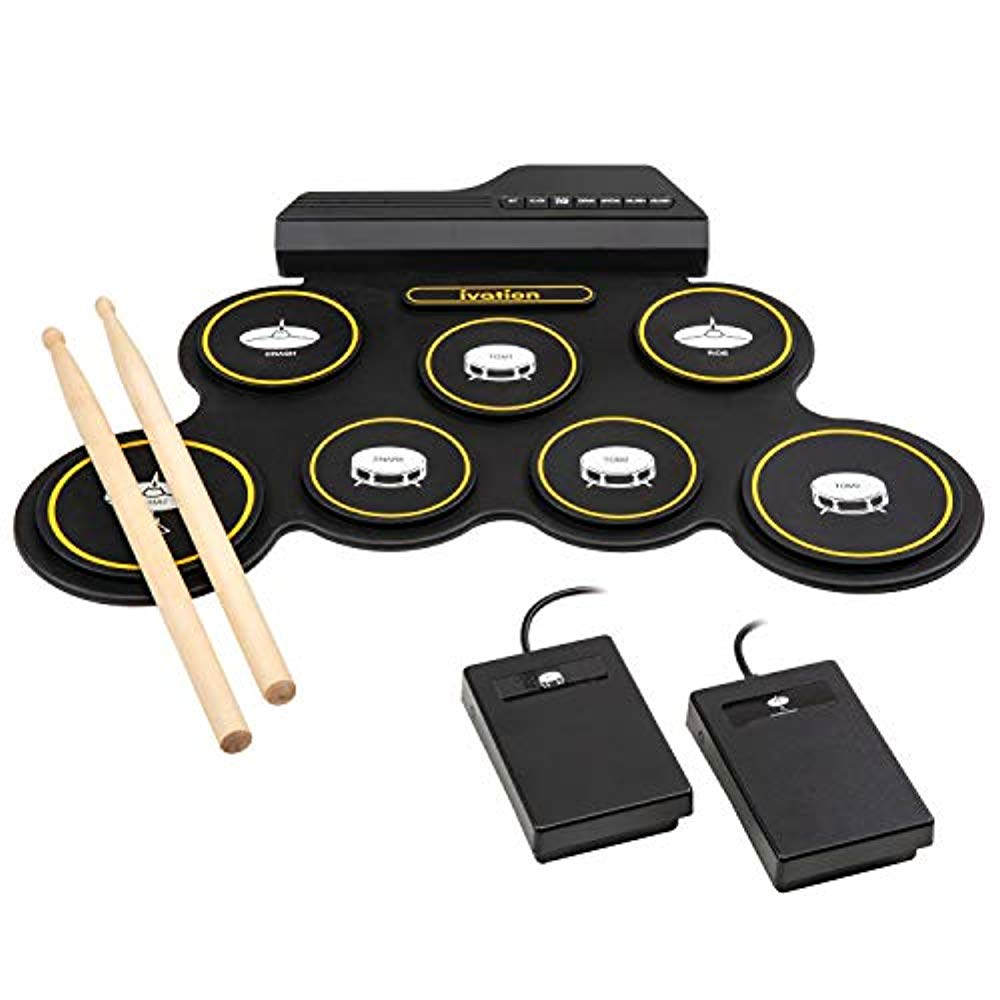 Ivation Portable Electronic Drum Pad – Digital Tabletop Roll Up Drum Kit w/ 7 Labeled Effects [3 Tom-Toms, Snare Drum, Hi-Hat, Ride & Crash Cymbals], 2 Wooden Drumsticks & 2 Pedals – 2 AAA Required
