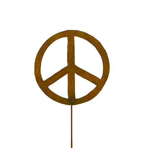 Metal Garden Stake- Artisan Crafted, Peace Sign Decor- Outdoor Garden Decorations by Oregardenworks