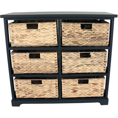 Black 6-Drawer Basket Chest