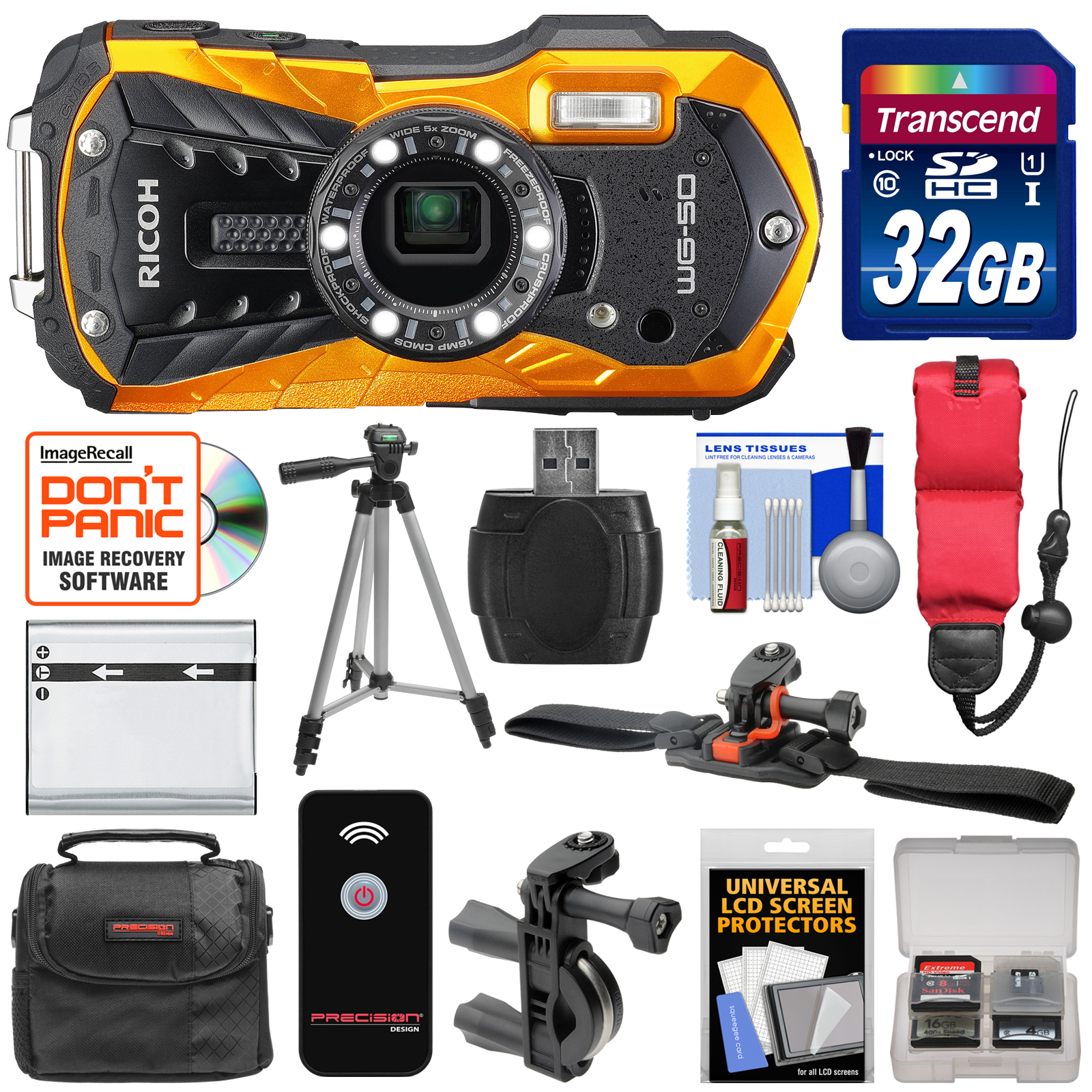 Ricoh WG-50 Waterproof / Shockproof Digital Camera (Carbon Grey) with 32GB Card + Helmet & Bike Mounts + Battery + Case + Tripod + Strap Kit