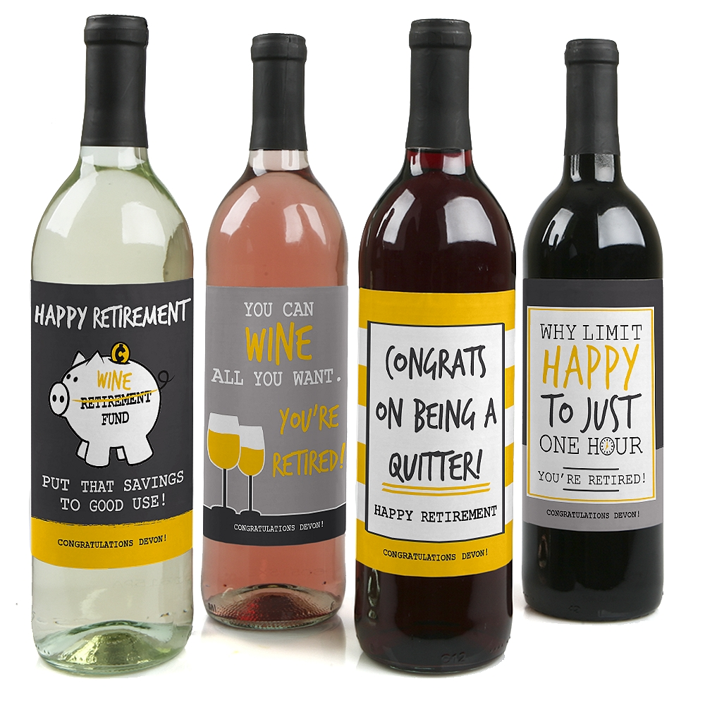 Retirement Party - Wine Bottle Labels - Set of 4