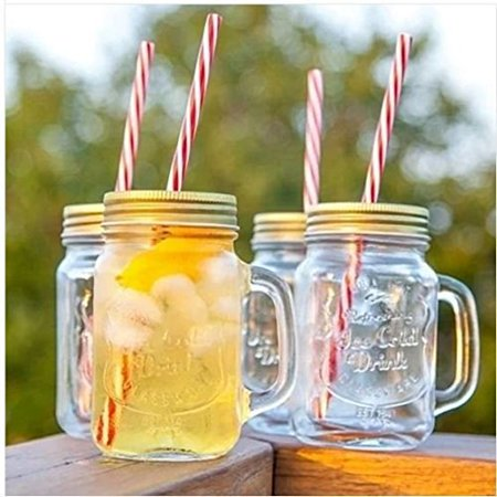 Set of 4 Vintage Styled Mason Lidded Drinking Jars with Straws - Serve Ice Cold Drinks The Old Fashioned Way & Up your Game!](Mason Jars With Lids And Straws)