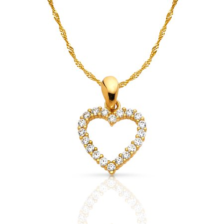 14K Yellow Gold Open Fancy Heart Round Cut Cubic Zirconia CZ Charm Pendant with 0.9mm Singapore Chain (Gold Round Cut Heart)