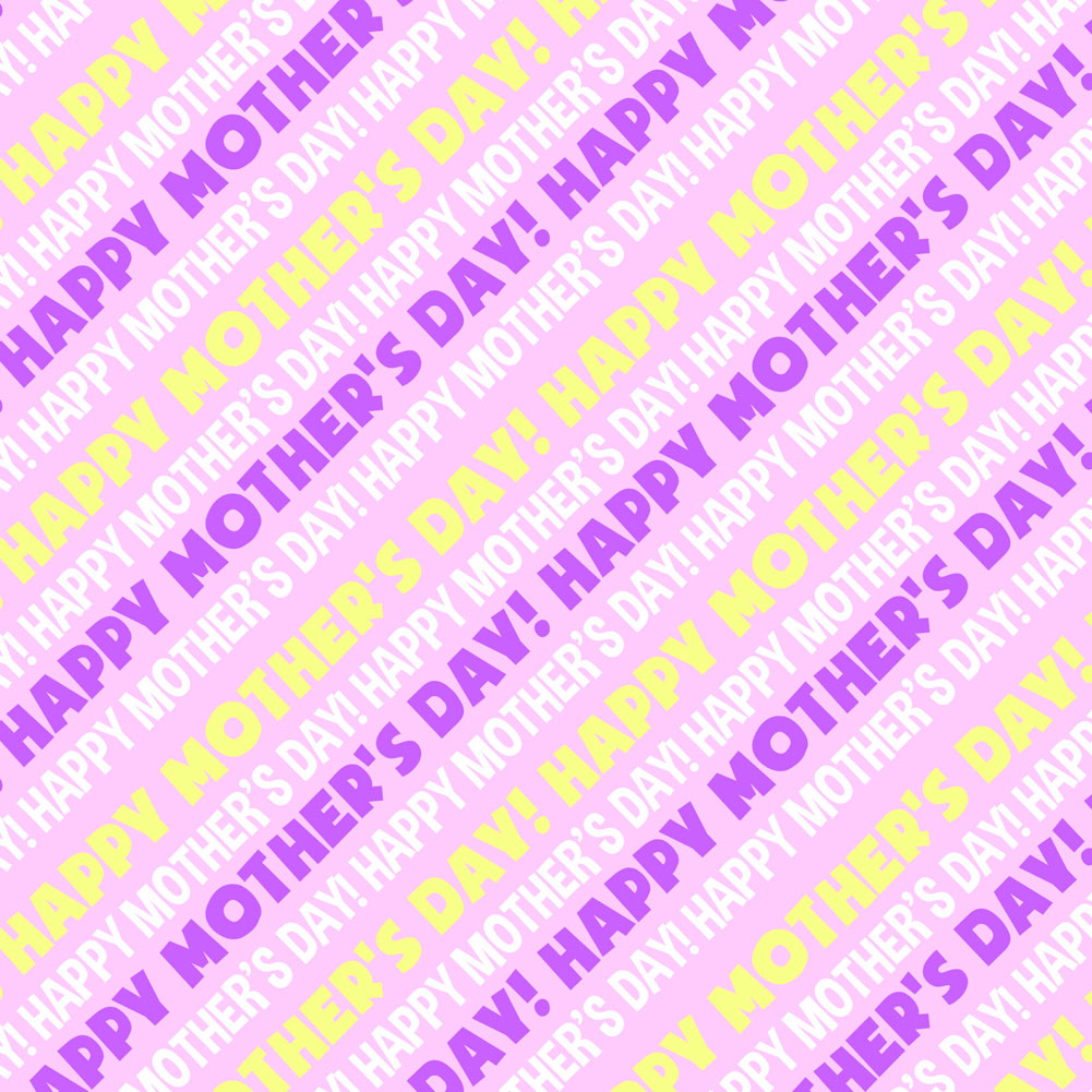 Happy Mother's Day Pink Purple Yellow Premium Gift Wrap Wrapping Paper Roll