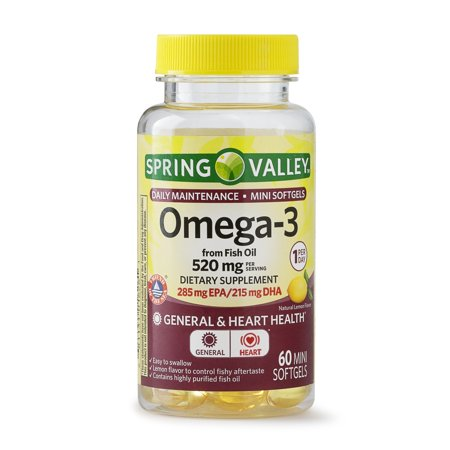Spring Valley Omega-3 from Fish Oil Mini Softgels, Daily Maintenance, 520 Mg, 60