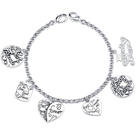 Stainless Steel Best Friends Forever Heart Charm Link Bracelet 7 5