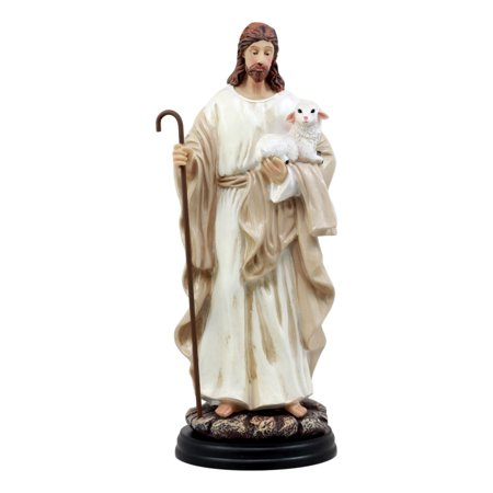 "Jesus Christ The Lamb Of God Devotional Statue 10.25""H The Good Shepherd With A Lamb and Staff Figurine"