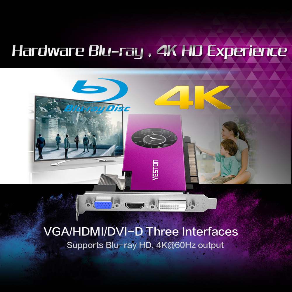 DVI-D GPU Yeston Radeon RX550 Gaming Graphics Cards HD 4GB Memory GDDR5 128Bit 6000MHz VGA
