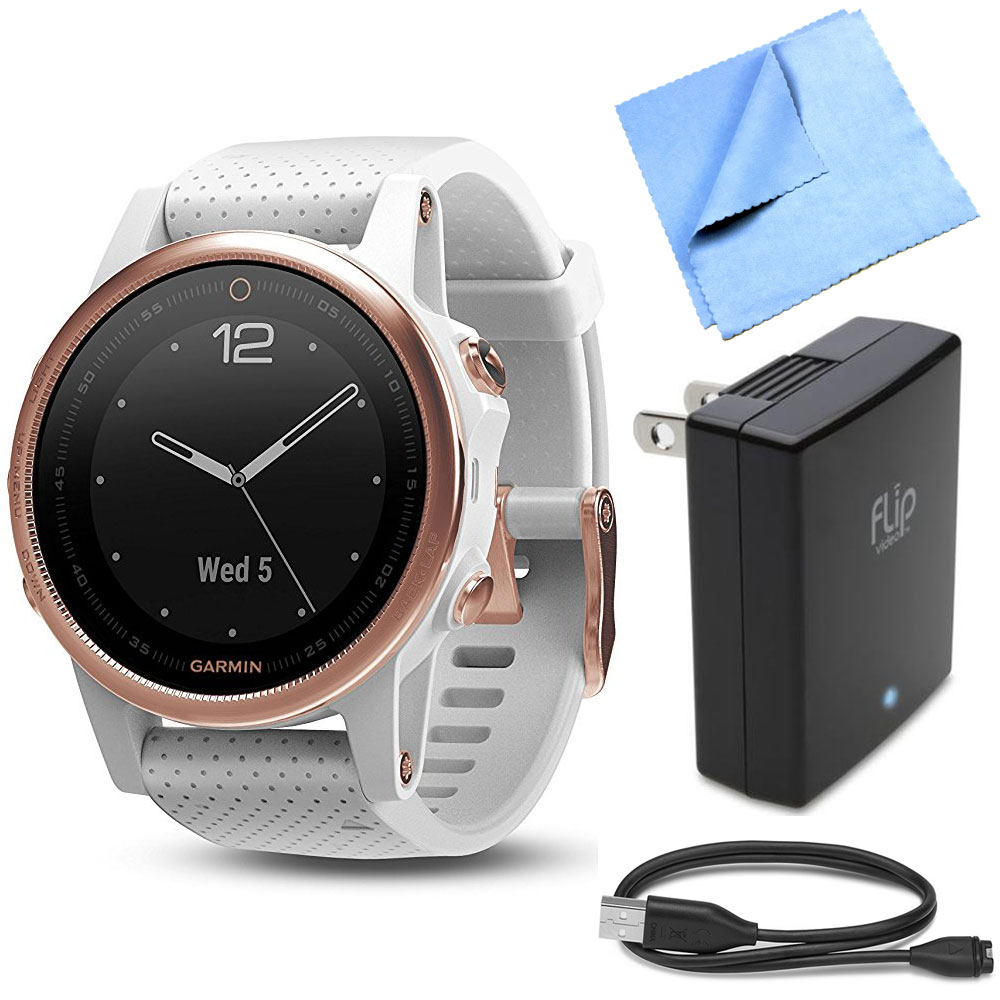 Garmin Fenix 5S 42mm Multisport GPS Watch Rose Goldtone Sapphire with White Band Bundle