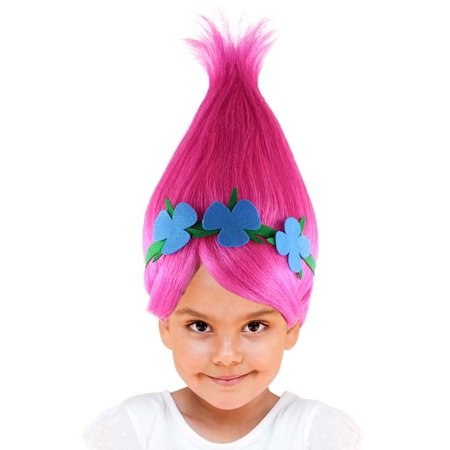 Princess Troll Wig, Pink Kids - Hot Pink Wigs