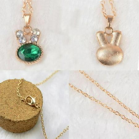 Fashion Stunning Sea Green Cute Bunny Rabbit Crystal Pendant Necklace Gift 18
