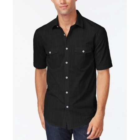 Alfani new solid black mens size 2xlt short sleeve button for Mens 2xlt short sleeve shirts