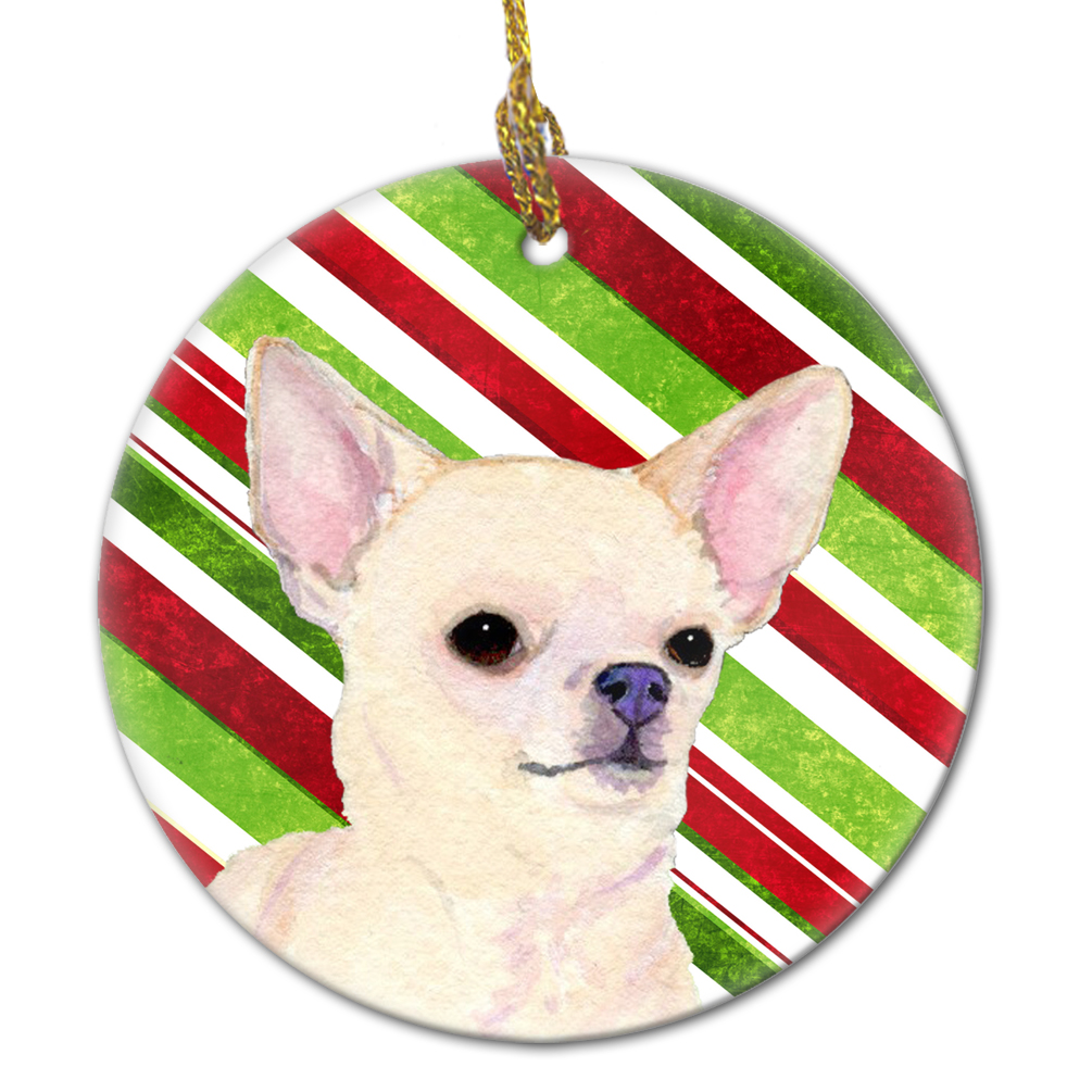 Chihuahua Candy Cane Holiday Christmas Ceramic Ornament SS4541