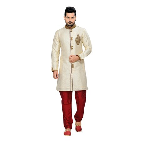 Classic Cream Art Silk Indian Wedding Sherwani For Men. This product is custom made to order. - image 2 of 2