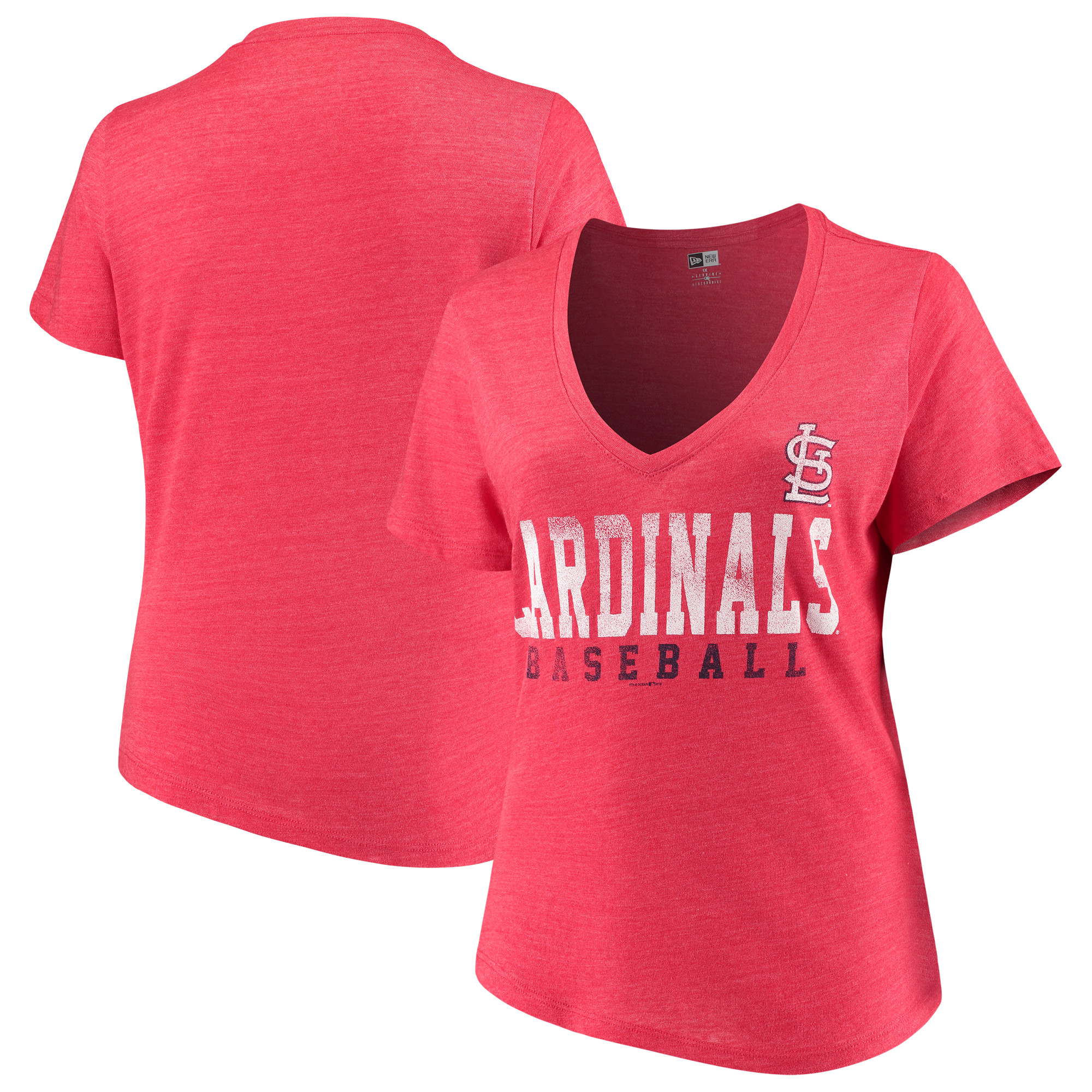St. Louis Cardinals 5th & Ocean by New Era Women's Plus Size Tri-Blend Jersey V-Neck T-Shirt - Red