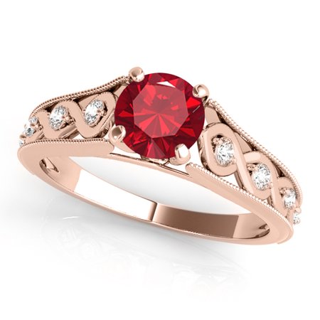 1 Ct. Halo Unique Design Created Ruby And Diamond Engagement Ring Crafted In 14k Solid Rose Gold