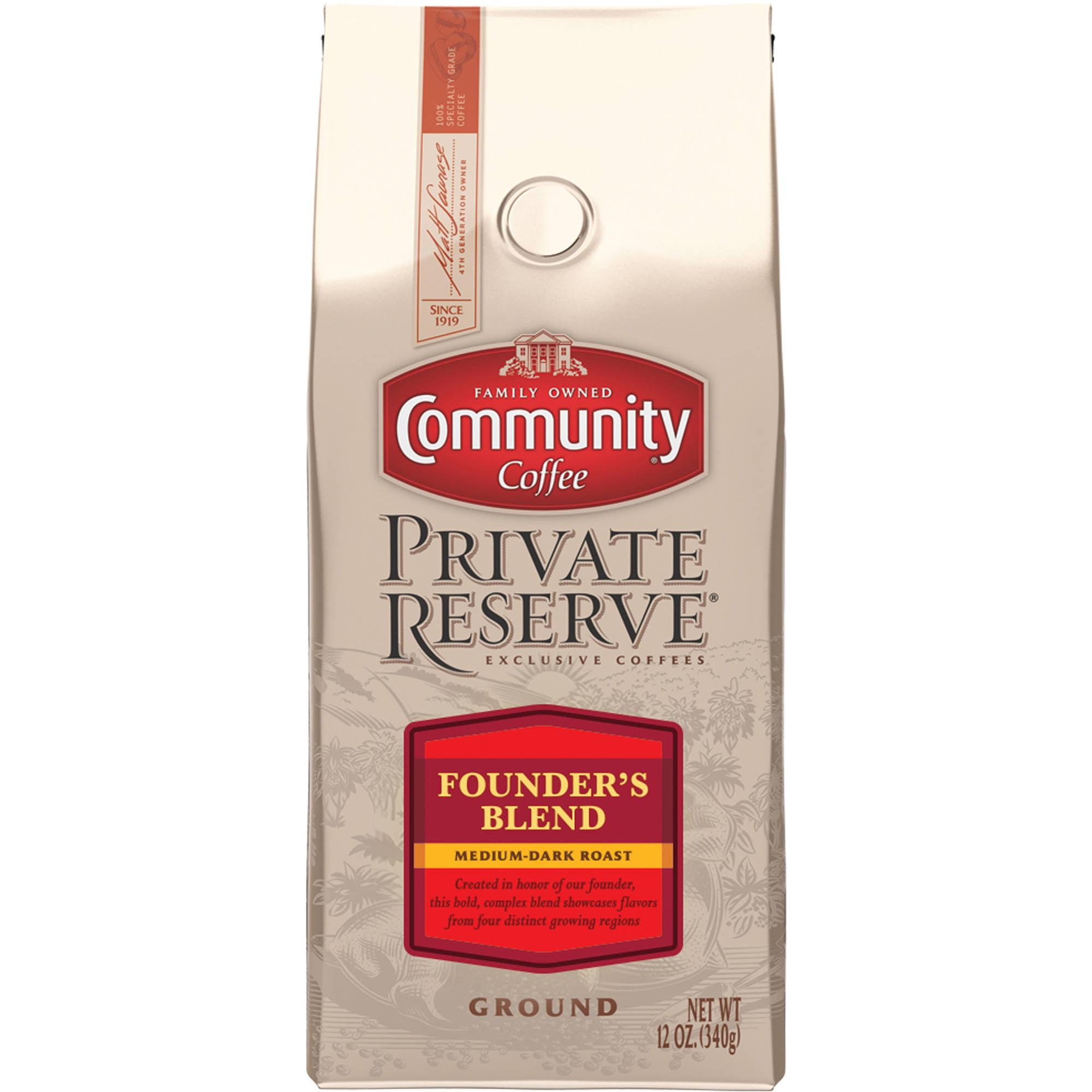 Community Coffee Private Reserve Founder's Blend Medium-Dark Roast Ground Coffee, 12 oz