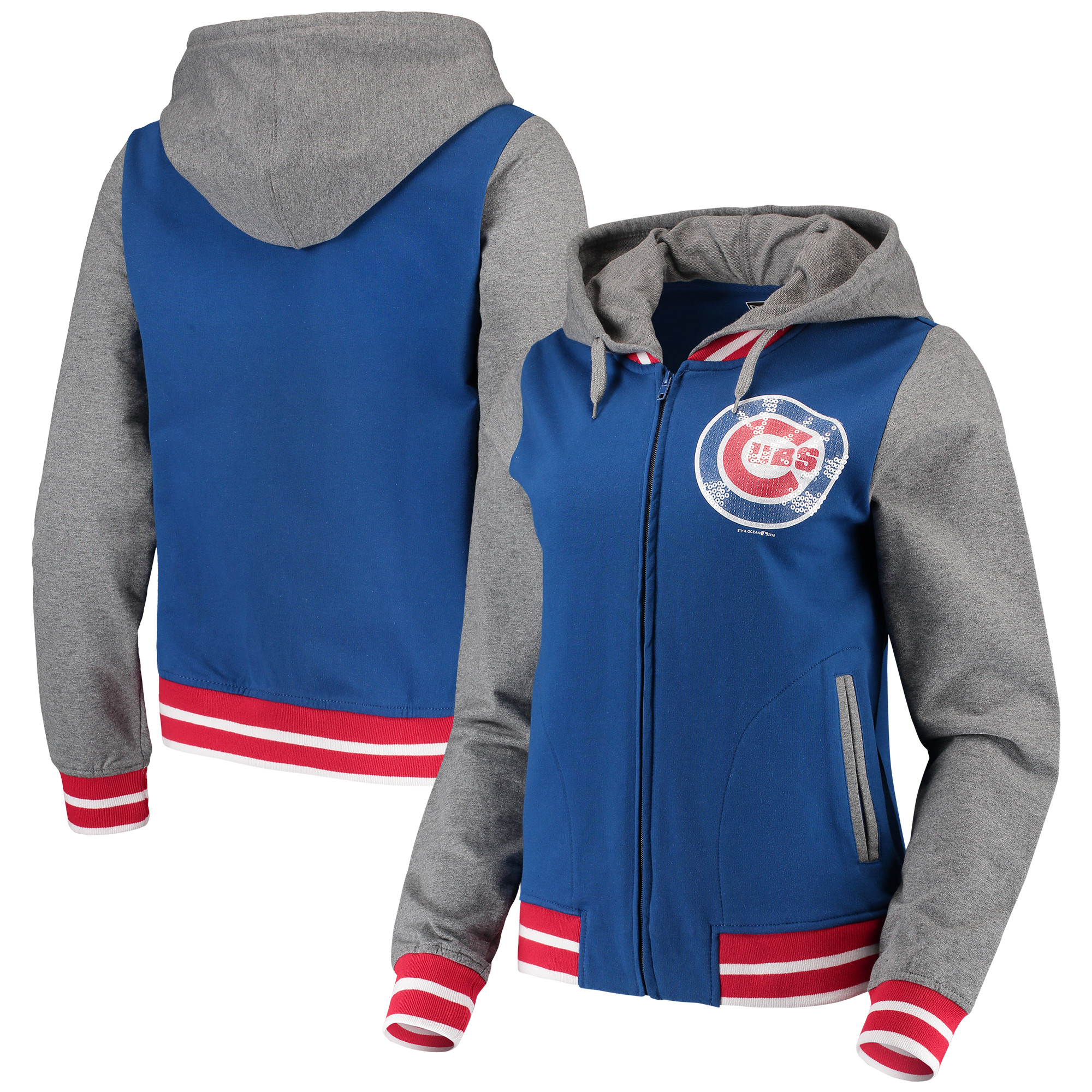 Chicago Cubs 5th & Ocean by New Era Women's French Terry Full-Zip Hoodie - Royal/Heathered Gray