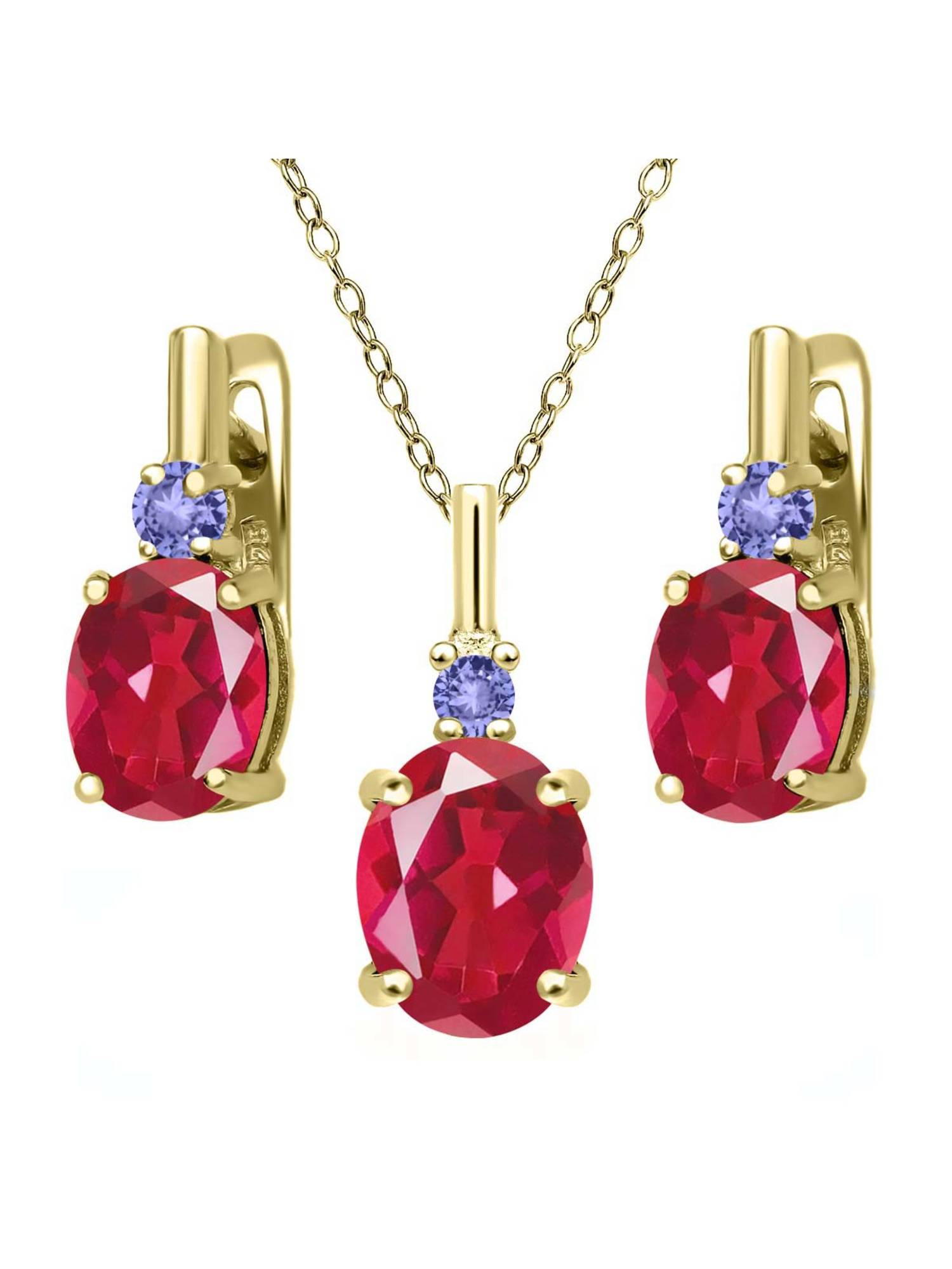 6.98 Ct Last Dance Pink Mystic Quartz Blue Tanzanite 18K Yellow Gold Plated Silver Pendant Earrings Set by