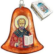 GDeBrekht 752-034 Saint Nick Bell Glass Ornament