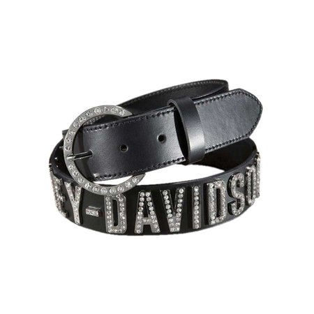 Harley-Davidson Women's Belt, Crystal H-D Font, Black Leather HDWBT10627, Harley Davidson Coastal Harley Davidson Leather
