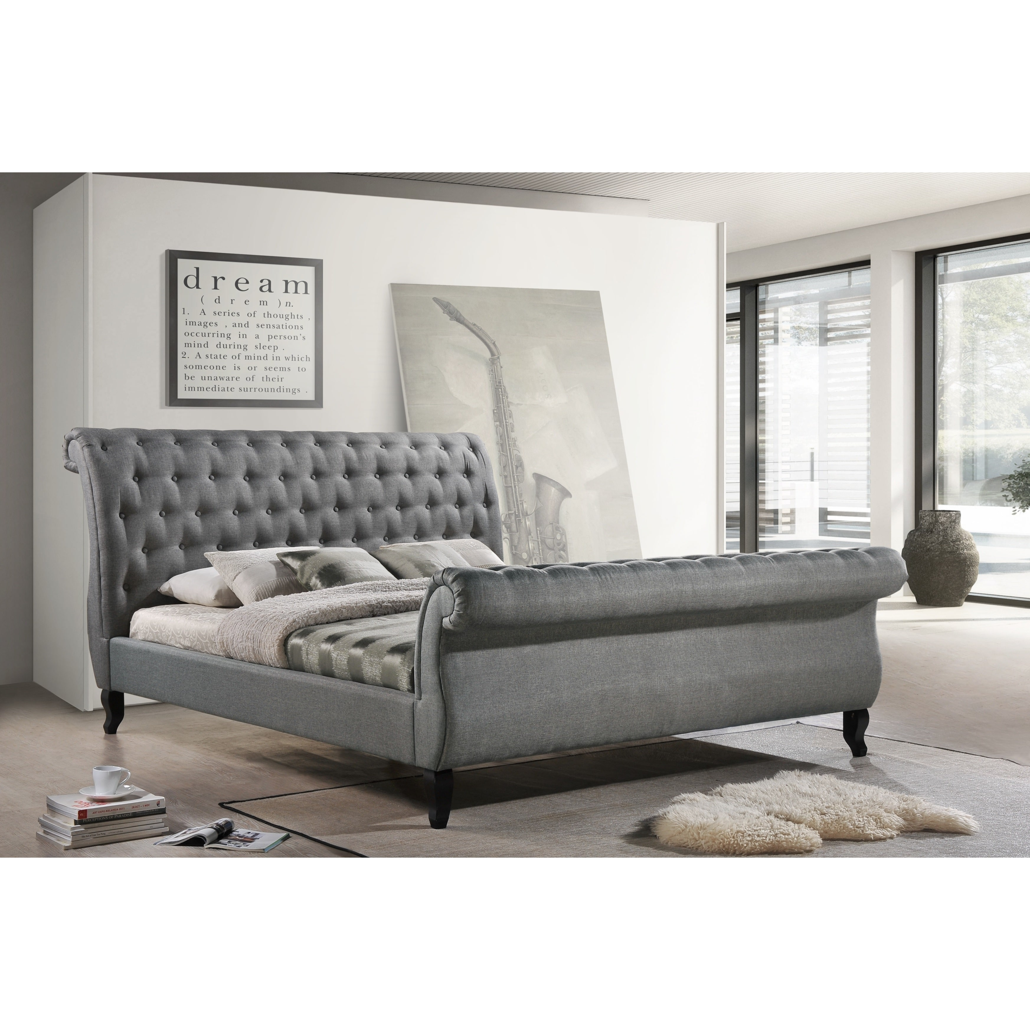 Nottingham King-Size Tufted Sleigh Upholstered Platform Sleigh Bed in Gray Fabric