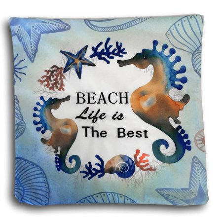 Sea Horse Decorative Pillow Cover - Banberry Designs Nautical Cushion Cover - Beach Life is Best Design with Seahorses - 14 3/4