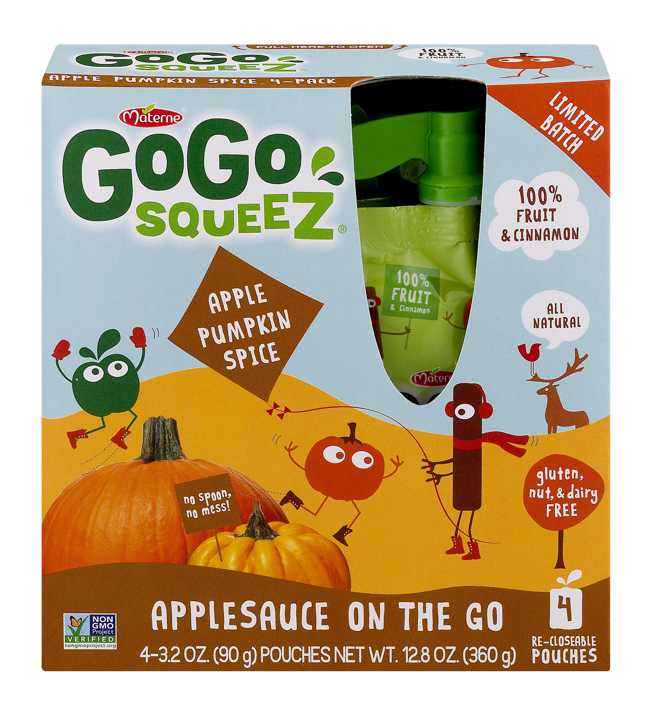 (3 Pack) GoGo squeeZ Apple Pumpkin Spice Applesauce on the Go 4-3.2 oz. Pouches