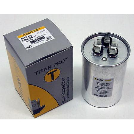 TitanPro TRCFD455 HVAC Round Dual Motor Run Capacitor. 45/5 MFD/UF440/370 (Round Capacitor)