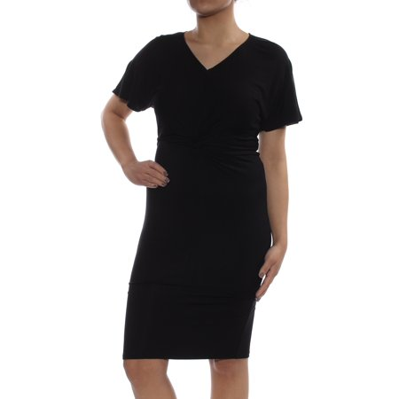 BAR III Womens Black Twist Front Flut V Neck Knee Length Sheath Cocktail Dress  Size: S Black Sheath Dress