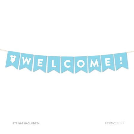 Welcome Baby Blue Boy Baby Shower Hanging Pennant Garland Party Banner