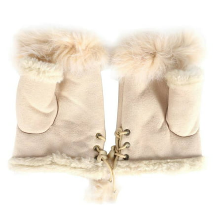 Nicesee Winter Women's fur Knitted Fingerless Gloves Soft Warm