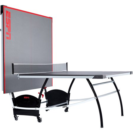 ESPN Official Size Table Tennis Table with Built-in Accessory Storage Space, Includes Set of Post and Net, Sturdy Steel Leg (Joola Snapper Table Tennis Net And Post Set)