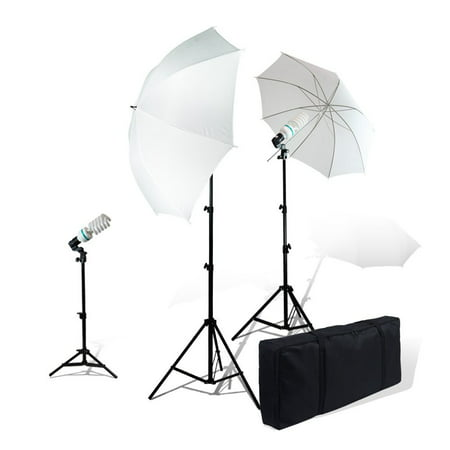 LimoStudio Photography Studio Video Portrait Umbrella Continuous Bulb Triple Lighting Kit, (Photography Continuous Light Kit)