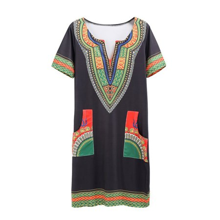 Dashiki Pattern (Women African Printed Dashiki Traditional Short Sleeve Party Mini)