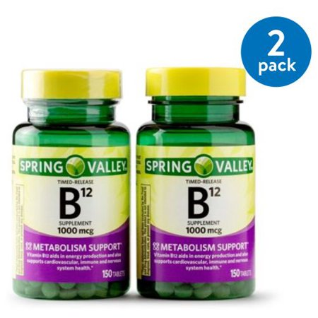 Time Release Youth Boost ((2 Pack) Spring Valley Vitamin B12 Timed Release Tablets, 1000 mcg, 150 Ct, 4 Bottles)